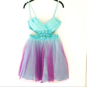 NWT Deb Ombré Cut Out Rhinestone Mini Party Dress